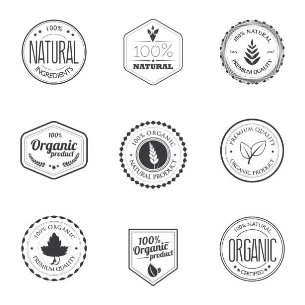 znaczki produktów ekologicznych - przypinka stock illustrations
