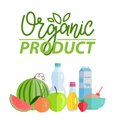 Organic Product Watermelon and Bottle of Water