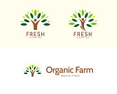 Human-nature logo set in minimal flat design, concept of green life, healthy lifestyle and organic farming