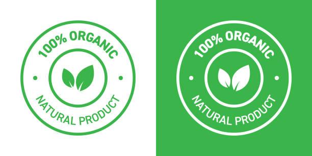 100% Organic Products Badge 100% Organic Products Badge natural condition stock illustrations