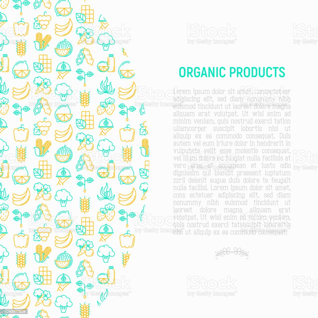 Organic products concept with thin line icons set: corn, peas, raw cafe, broccoli, grapes, sprouts, seaweed, watermelon, bananas, fresh juice. strawberry. Modern vector illustration for vegetable shop. vector art illustration