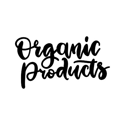 Organic Products food nature hand written brush lettering, black logo, label badge for groceries, stores, packaging and advertising..Vector illustration. White background