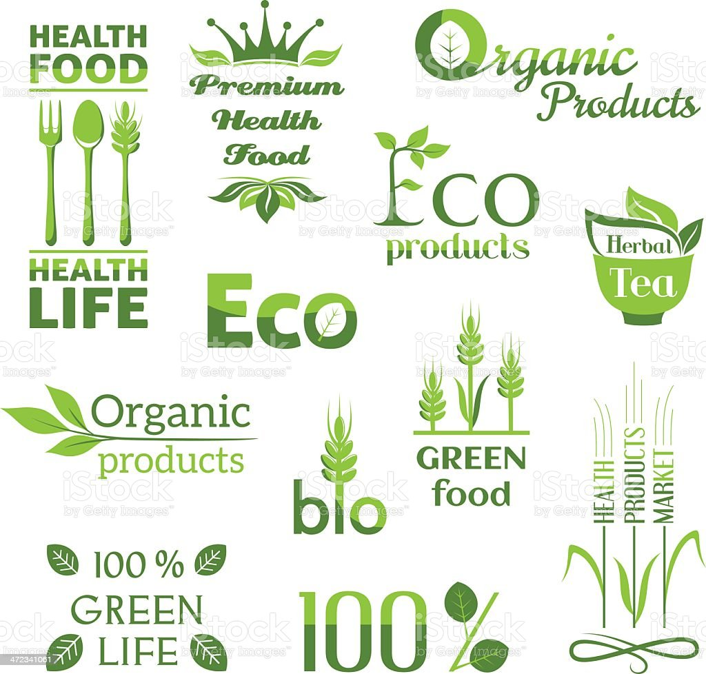 Organic products logo royalty-free stock vector art