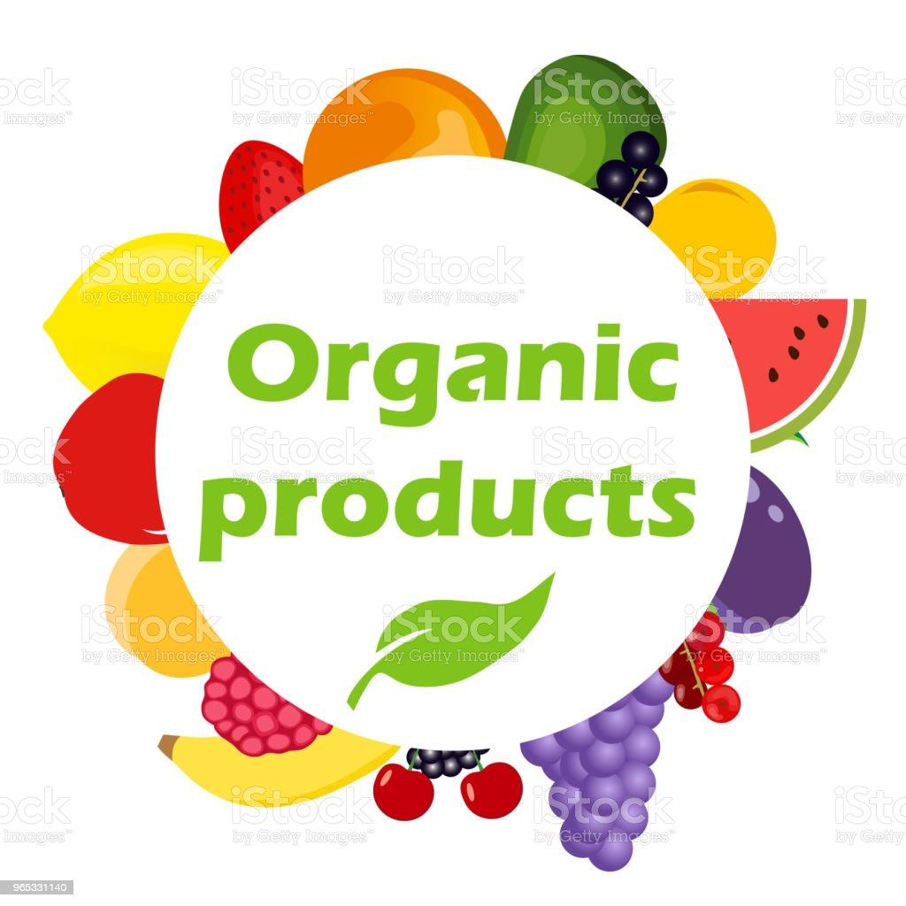 Organic products. Round banner with organic products. The concept of eco products. organic products round banner with organic products the concept of eco products - stockowe grafiki wektorowe i więcej obrazów baner royalty-free