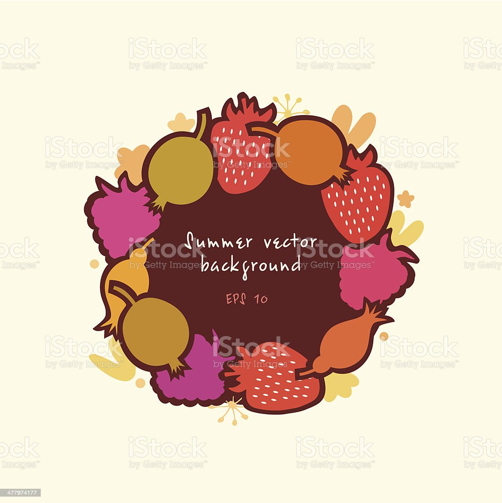 Organic round sticker with berries royalty-free stock vector art