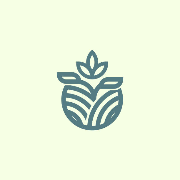 illustrazioni stock, clip art, cartoni animati e icone di tendenza di organic seed outline logo branding - coffee farmer