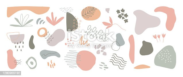 Organic shapes long banner. Minimal stylish cover template. Hand draw abstract design elements in pastel colors. Art form for social media stories, branding, flyer. Vector illustration