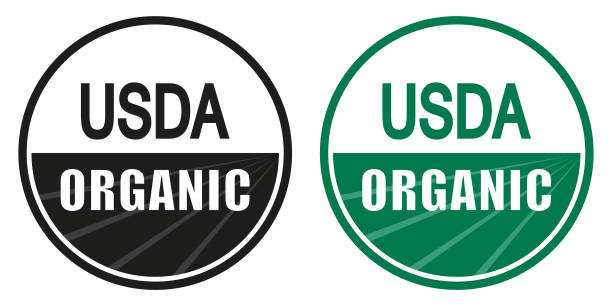 usda organic shield sign - organic stock illustrations, clip art, cartoons, & icons