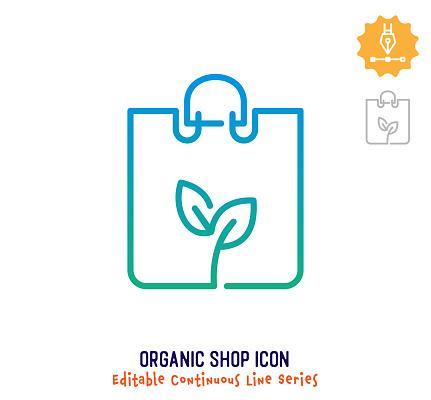 Organic Shop Continuous Line Editable Stroke Line