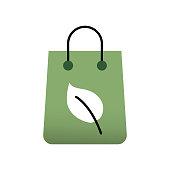 Organic Shop Flat Icon. Flat Design Vector Illustration