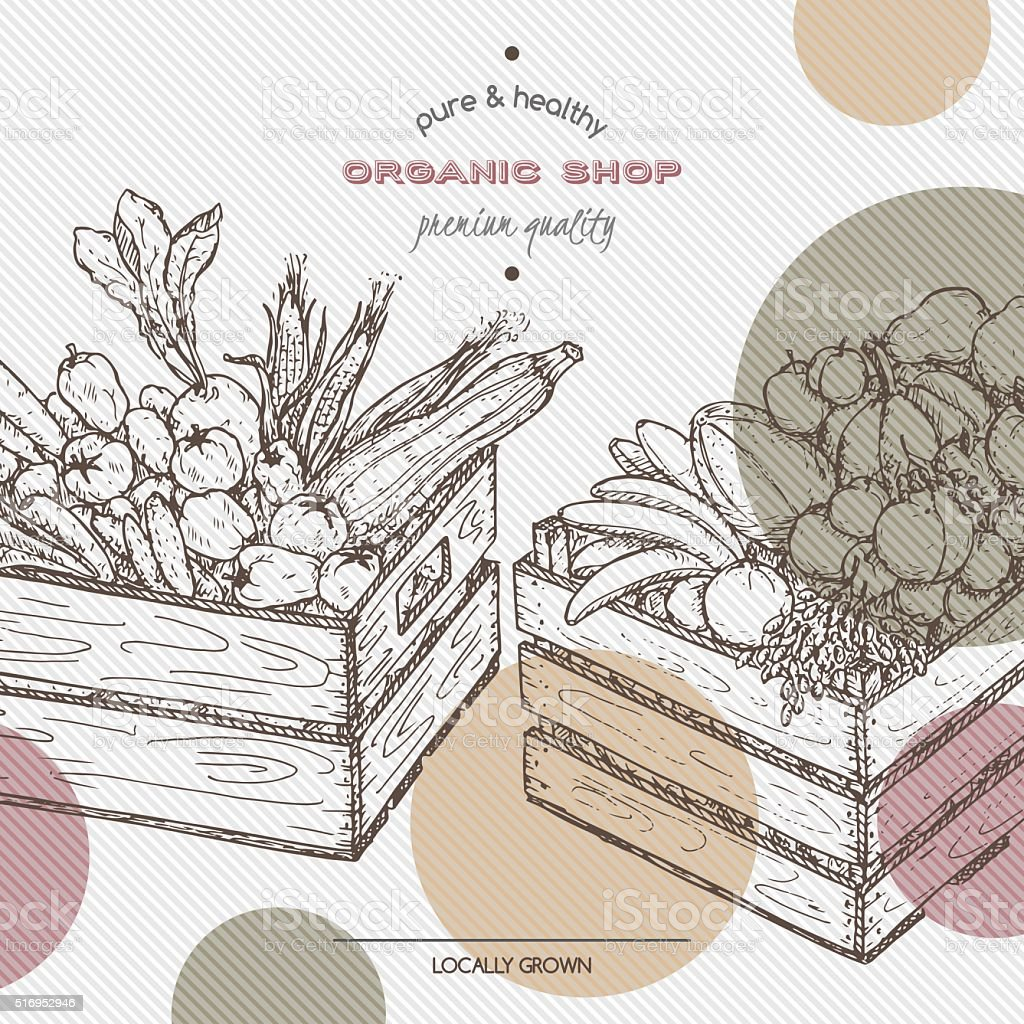 Organic shop template with fruits and vegetables in wooden crates. vector art illustration