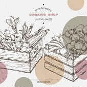 Organic shop template with fruits and vegetables in wooden crates.