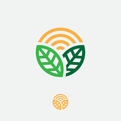 Organic sign. Sun and green leaves in a circle. Ecology symbol for label or packaging.