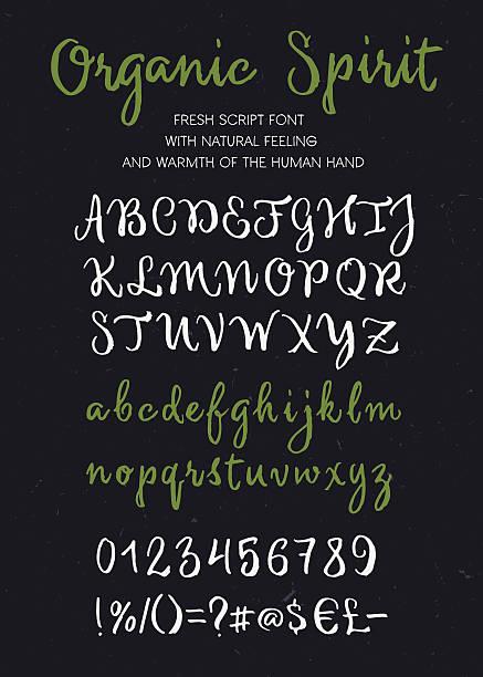 Bio esprit vecteur brush script Lettre de l'alphabet - Illustration vectorielle