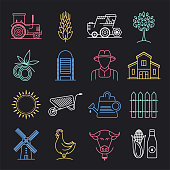 Organic and sustainable agriculture neon style concept outline symbols. Line vector icon sets for infographics and web designs.