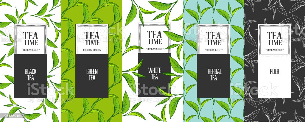 Organic tea frame labels vector art illustration