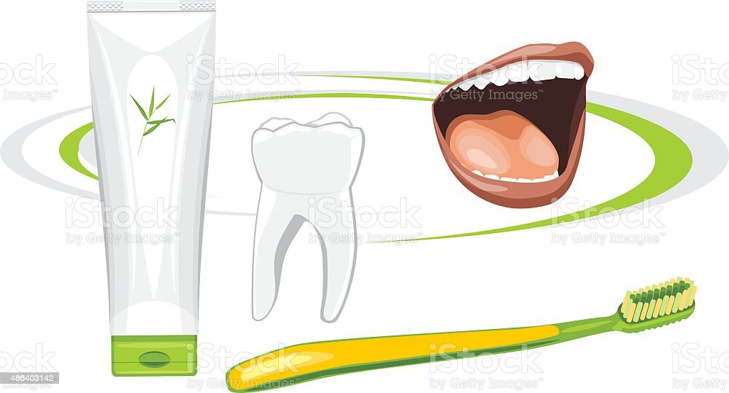 Organic toothpaste. Healthy teeth vector art illustration