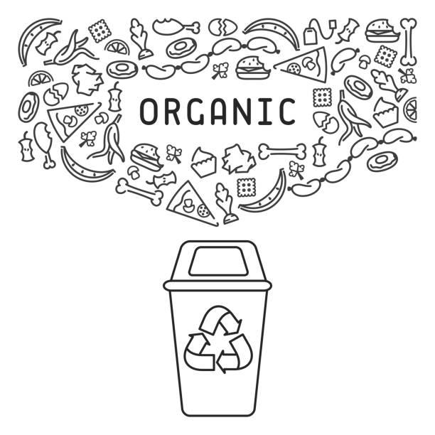 ilustraciones, imágenes clip art, dibujos animados e iconos de stock de ilustración de basura orgánica - leftovers