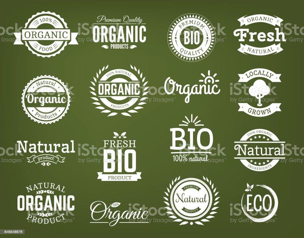 Orgánicos vector logo conjunto. ilustración de orgánicos vector logo conjunto y más vectores libres de derechos de alimento libre de derechos
