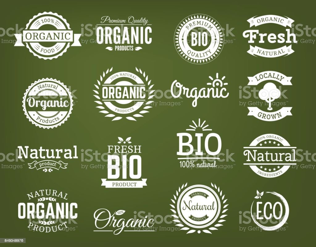 Organic vector logo set. vector art illustration