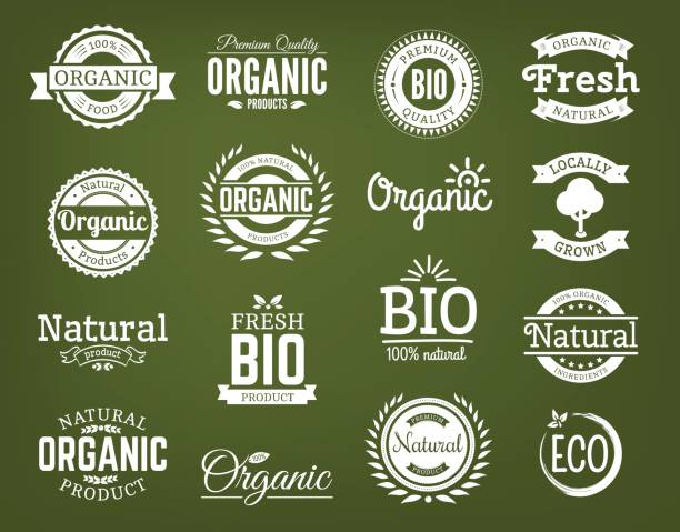organic vector logo set. - organic stock illustrations, clip art, cartoons, & icons