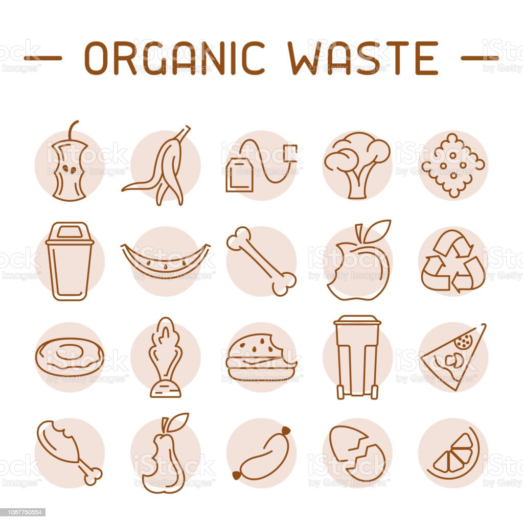 Organic waste icons set Organic waste icons set. Linear style vector illustration Badge stock vector