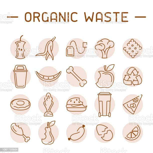 Organic Waste Icons Set Stock Illustration - Download Image Now