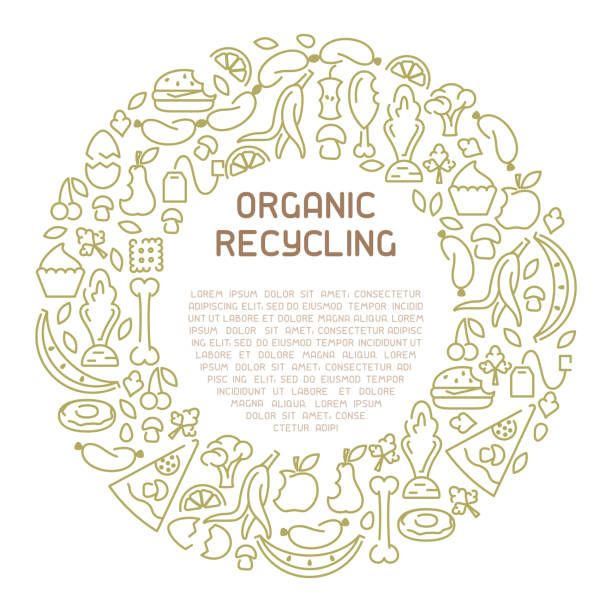 Organic waste information banner vector art illustration