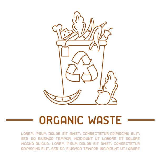 ilustraciones, imágenes clip art, dibujos animados e iconos de stock de cartel de información de residuos orgánicos - leftovers
