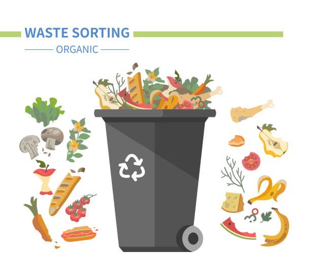 Organic waste recycling - modern flat design style illustration vector art illustration