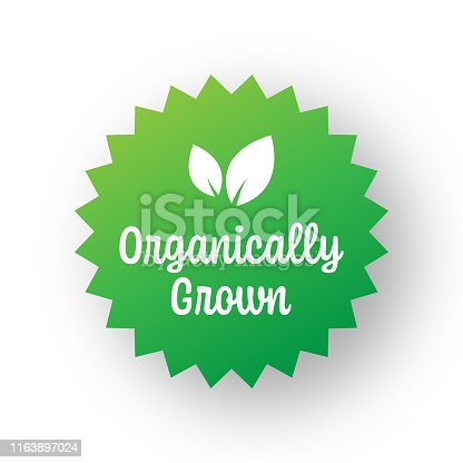 Organically Grown Badge Template. Label Badge with Leaves. Organic Products and Organic Food Badge.