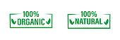 Organic,natural labels set icon . 100% organic product , vector logo. Eco concept . Bio food . 10 eps