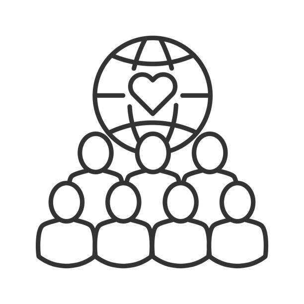 stockillustraties, clipart, cartoons en iconen met ngo organisatie zwarte lijn icoon. non-profit gemeenschap. liefdadigheid, vrijwilligerswerk concept. teken voor webpagina, mobiele app, banner, sociale media. editatable beroerte. - non profit
