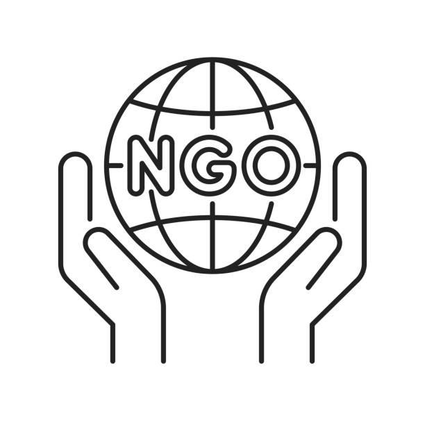 stockillustraties, clipart, cartoons en iconen met ngo organisatie zwarte lijn pictogram. non-profit gemeenschap. pictogram voor webpagina, mobiele app, promo. - non profit