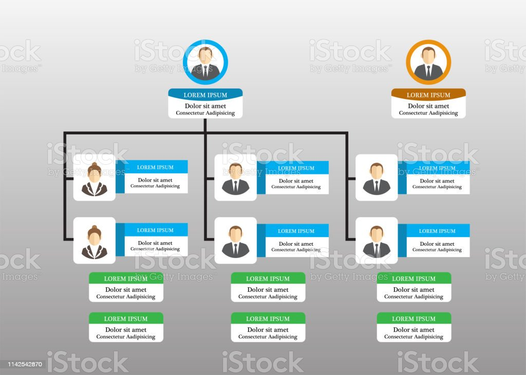 Organization Chart Infographics with People Icon and Abstract Line,...