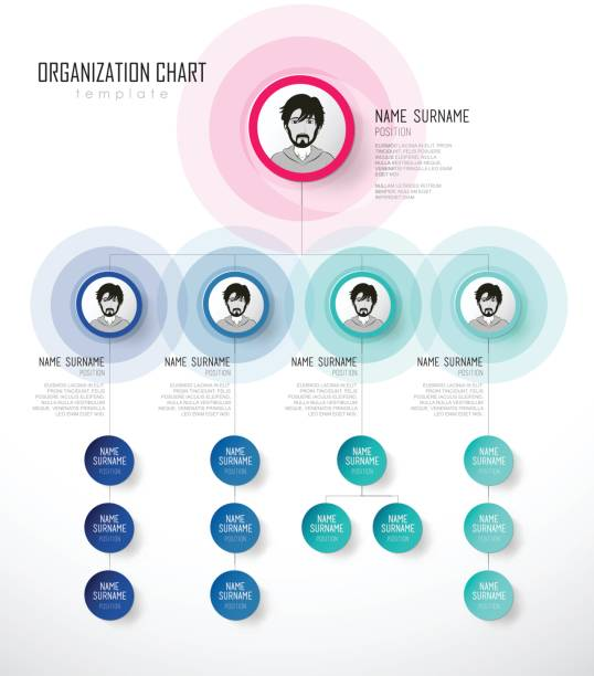 Organization chart template with colorful circles and place for your text. Organization chart template with colorful circles and place for your text. organization chart stock illustrations