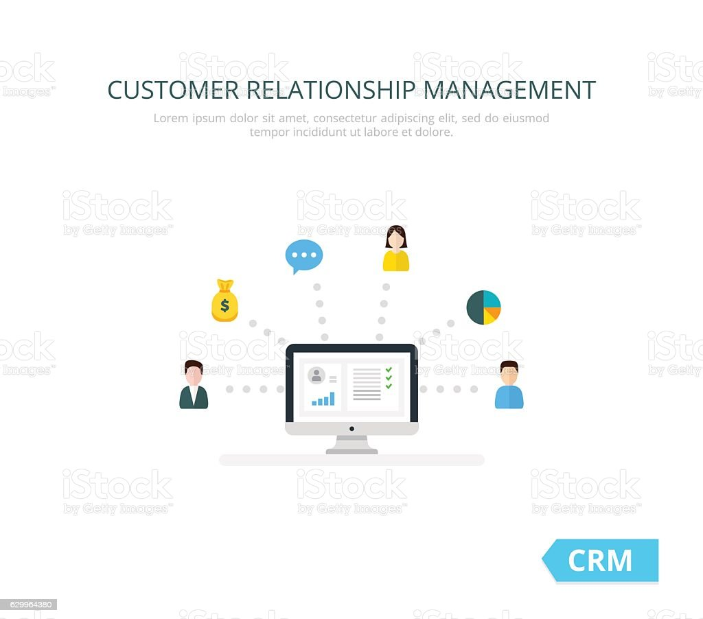 Organization of data on work with clients, CRM concept. Customer vector art illustration