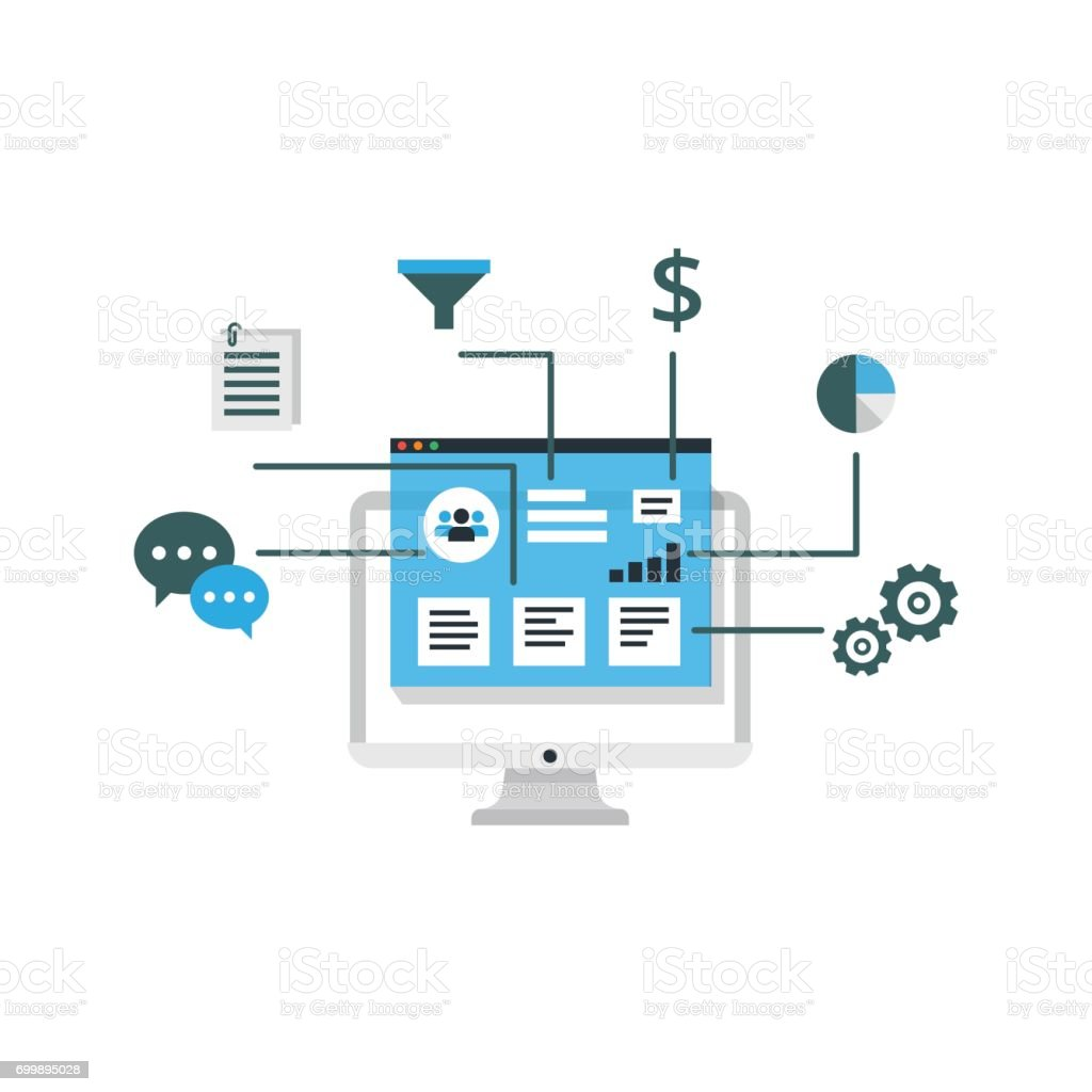 Organization Of Data On Work With Clients Crm Concept Customer ...