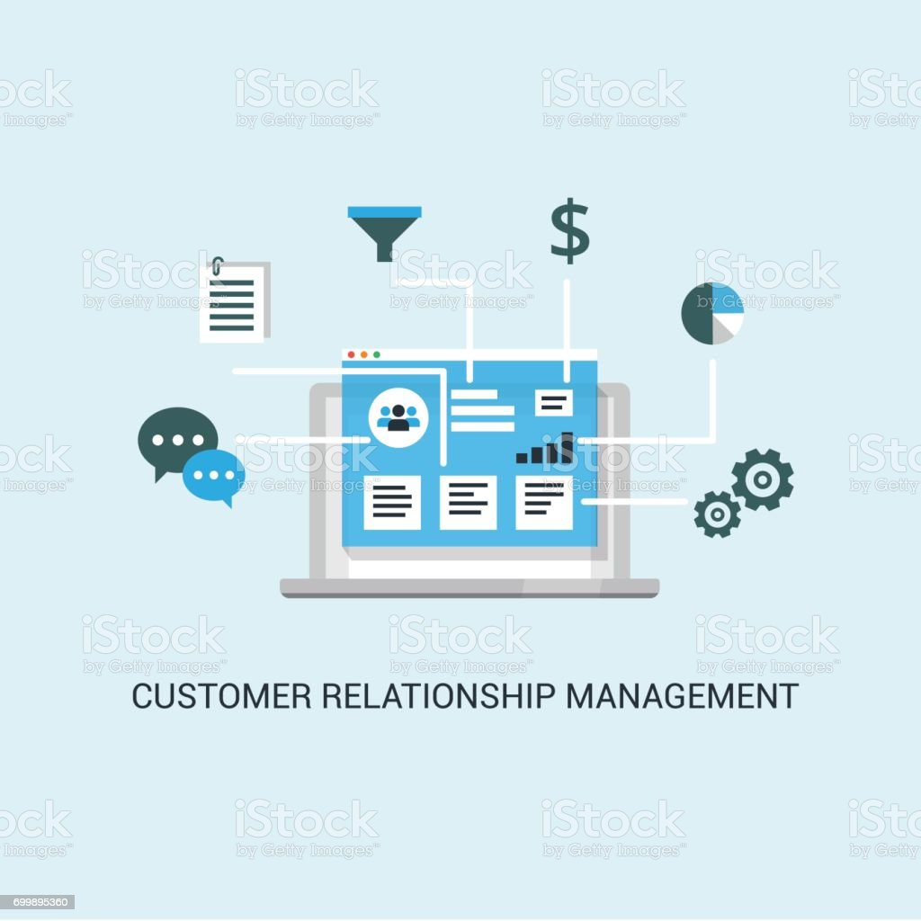 Organization of data on work with clients, CRM concept. Customer Relationship Management vector illustration. vector art illustration