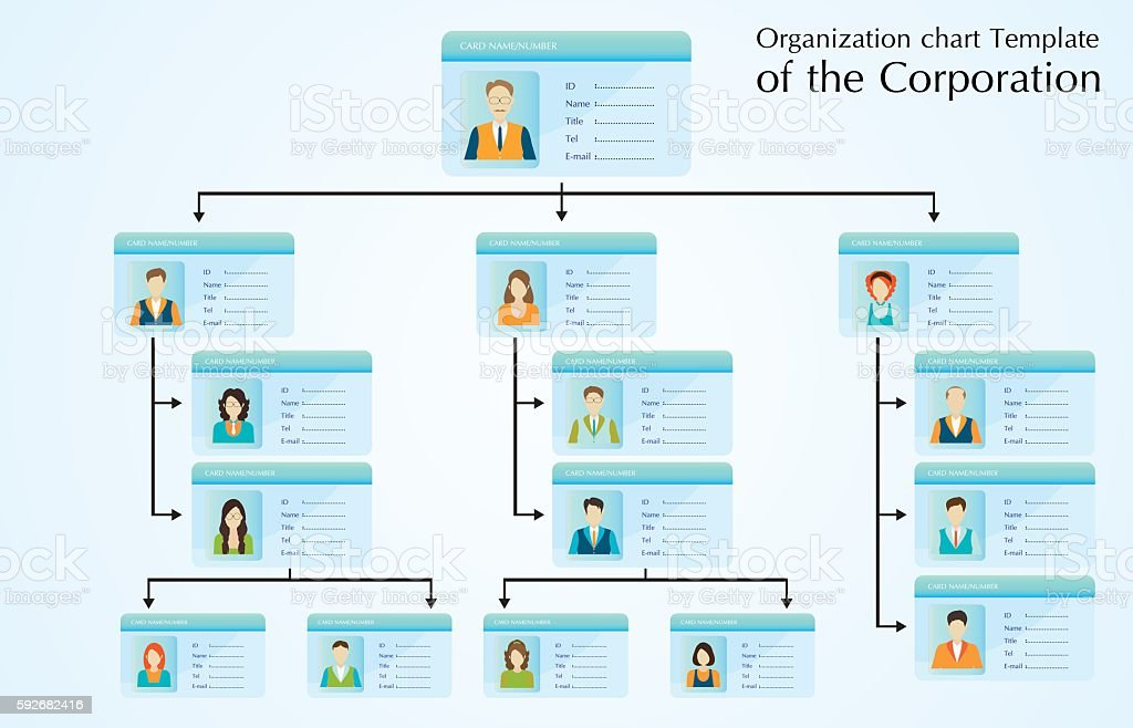 ... Organizational Chart Template Of The Corporation. Vector Art  Illustration ...