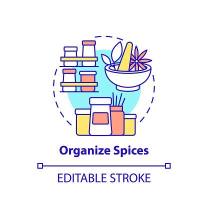 Organize spices concept icon