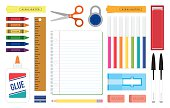 Get ready for school or work with this colorful and organized desk top full of tools and supplies used for writing, learning and working needs