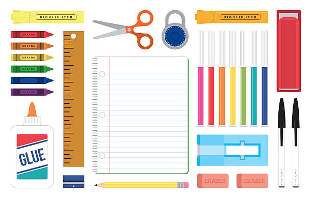 Organized Desktop Scene Get ready for school or work with this colorful and organized desk top full of tools and supplies used for writing, learning and working needs elementary school teacher stock illustrations