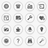 Organizer black icons on stickers. Flat design.