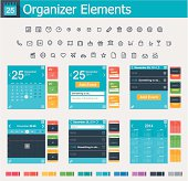 Set of the simple personal organizer interface icons and elements