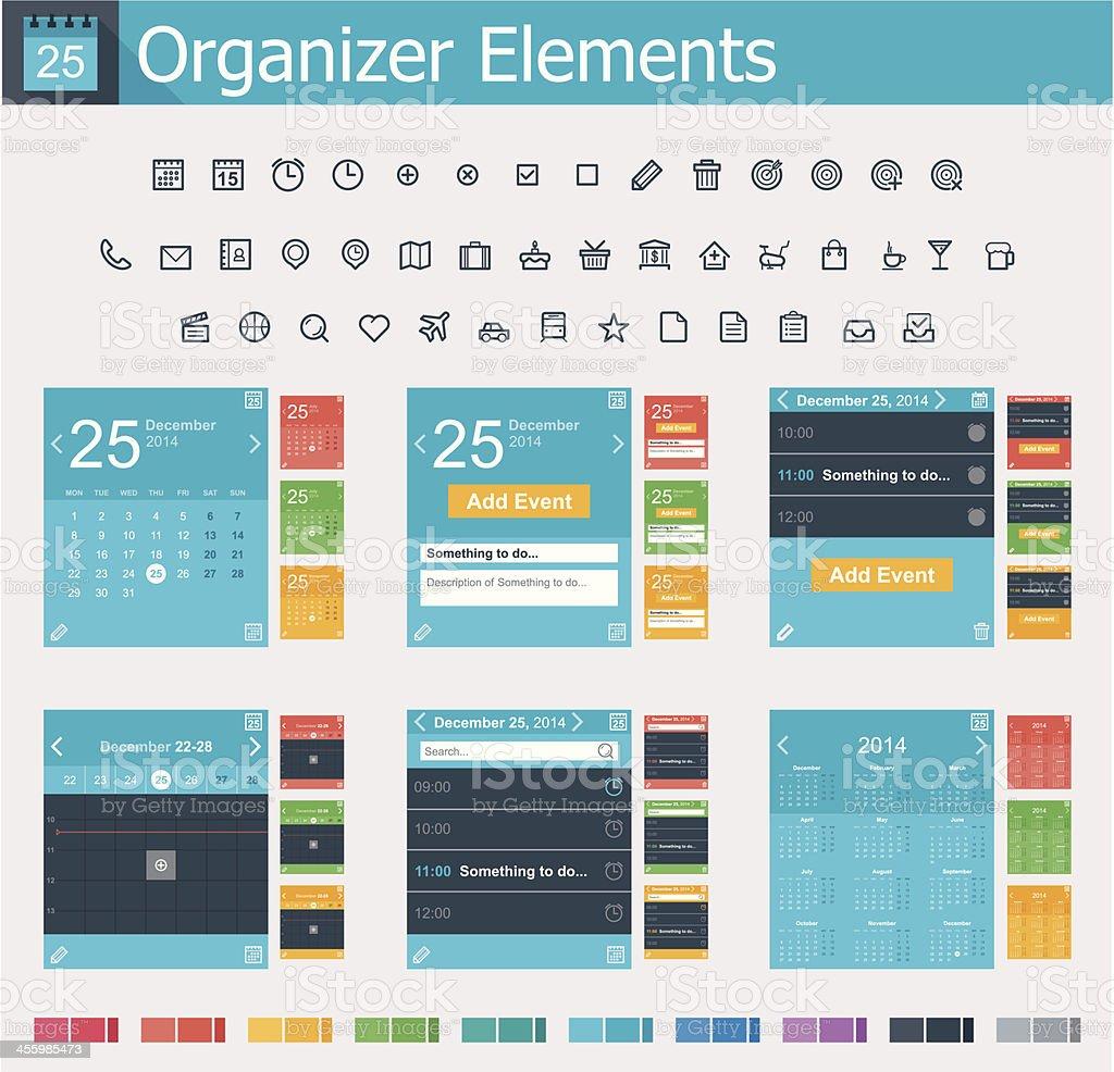 Organizer elements vector art illustration