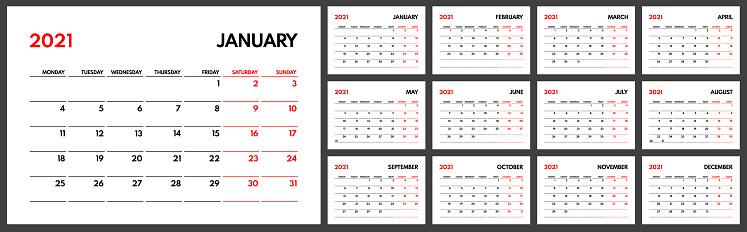 2021 organizer, starts monday, two weekends, white background