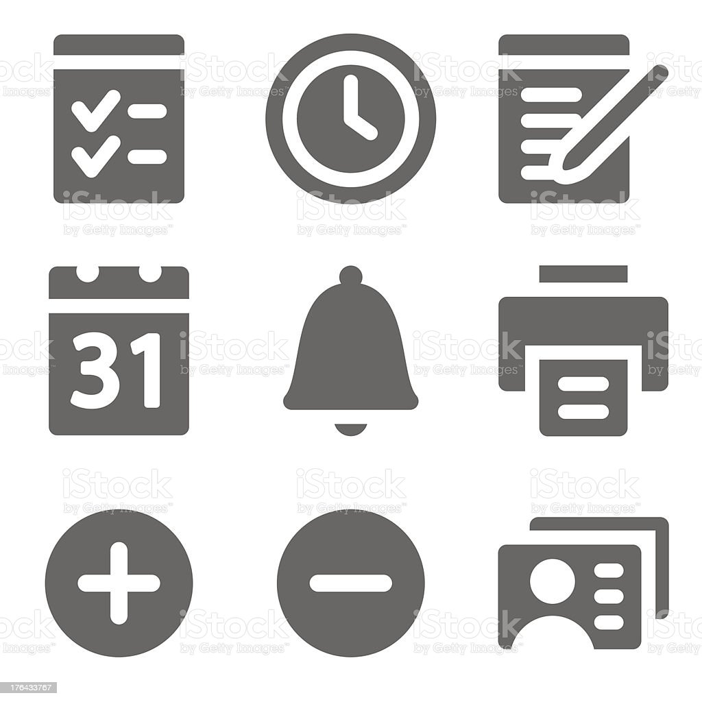 Organizer web icons, grey solid series royalty-free stock vector art