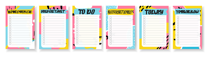 Organizer,planner with retro background and trendy lettering