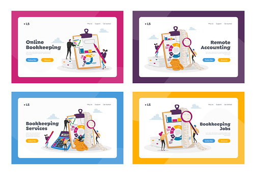 Organizing Accounting, Financial, Banking Data Landing Page Template Set. Tiny Accountant Characters Bookkeeping Service